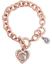 bracelet rose images Guess rose gold tone link charm bracelet jewelry watches macy 39 s tif