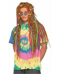 hippie rasta blonde rainbow dreadlock rastafarian dreads wig