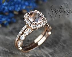morganite bridal set set of 2 pear morganite engagement ring with scalloped