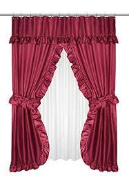 Burgundy Shower Curtain Liner Dot Ruffled Swag Fabric Shower Curtain