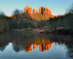 Cathedral Rock Reflections At Sunset Red Rock Crossing Cathedral Rock At Sunset With Reflection