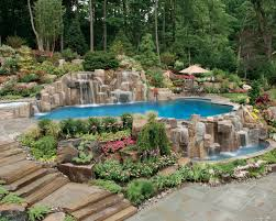 natural swimming inground pool waterfall design nj cipriano
