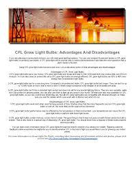 cfl grow light bulbs advantages and disadvantages