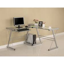 Glass L Desk by Silver Metal And Glass L Shaped Corner Computer Desk Greenhome123