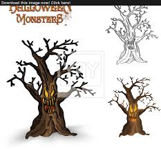 halloween monsters spooky tree illustration eps10 file vector