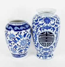 Chinese Blue And White Vase Two Blue And White Chinese Ceramic Vases Ebth