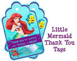 disney little mermaid birthday thank you tags ariel party thank