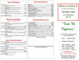 Hometown Buffet Coupons Printable by Printable Lunch Menu For Bella Gina U0027s Italian Deli And Catering