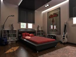 bedroom design for guys black painted wooden platform bed black