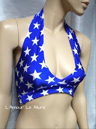 4th of july star halter crop top cosplay dance costume rave bra