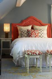 love the headboard beautiful coral gray blue bedroom design with
