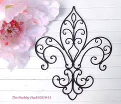 Wrought Iron Kitchen Wall Decor Metal Fleur De Lis Wall Decor Shabby Chic Home Black Wall