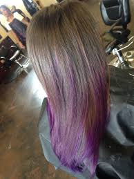 shag haircut brown hair with lavender grey streaks brown hair with purple ends ombré balayage highlights natural hair