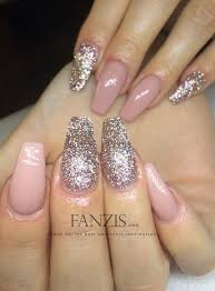 blush pink and glitter coffin nails more nails please