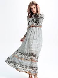 pretty women casual floral print bandage long sleeve maxi dress