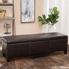 Ottoman Leather Storage Storage Ottoman With Tray Tables Hayneedle