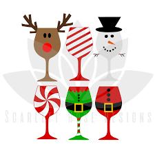 christmas glasses christmas svg christmas wine glasses cut file designs