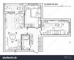 floor plan furniture floor plan furniture top view architectural stock vector 700638898