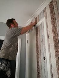 Wallpaper That Looks Like Wood by Jarrah Jungle Laundry Renovation How To Wallpaper A Door And Wall
