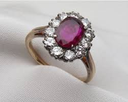 engagement ruby rings images Midcentury ruby diamond halo ring ruby diamond engagement ring jpg