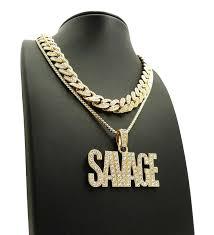 necklace set box images Hip hop 18 quot iced out cuban choker chain savage pendant 24 quot box chai JPG