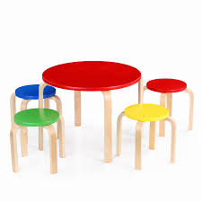 Toddler Table And Chairs Wood Ikayaa Cute Solid Wood Round Kids Table And 4 Chairs Set Furniture