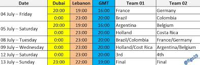 World Cup Table Kick Off Times For World Cup Matches U2013 Quarter Finals U2013 Semi