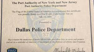 New Jersy Flag Dallas Police Get A Gift From New York New Jersey Police Marking
