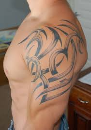 shaded tribal shoulder tattoos for men photos pictures and