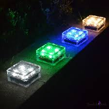 clear glass color changing brick solar outdoor deck lighting with