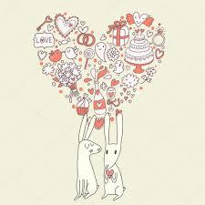 Wedding Invitation Card With Photo Cartoon Wedding Invitation Card With Cute Rabbits And Heart Made