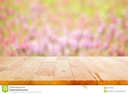 Wooden Table Texture Vector Wood Table Top On Blur Flower Garden Background Stock Photo