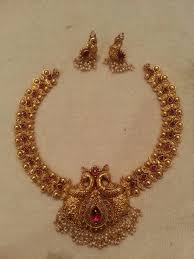 antique gold necklace images Antique gold necklace and earrings with peacock design jewelry jpg