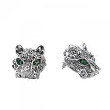 emerald stud earrings pave jaguar emerald eyed studs earrings