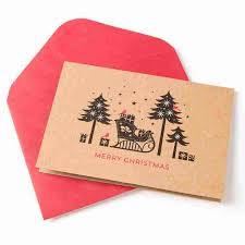 boxed christmas cards eco friendly sleigh silhouette boxed christmas cards set of 16