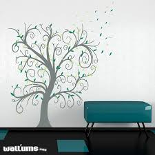 curly leaves tree wall decal size 60x72 tree branch color storm