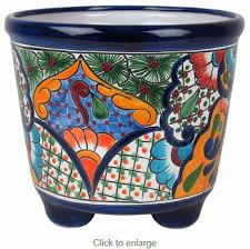 Handmade Mexican Pottery - footed mexican talavera pottery planter