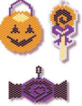 black cat and pumpkin beaded earrings pendant pattern bead