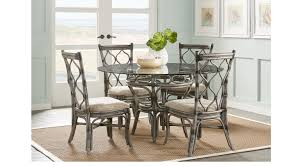 shorecrest gray 5 pc round dining set glass top casual