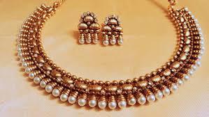 pearls gold necklace sets images Gold necklace design traditional pearl gold necklace set kalaikv jpg