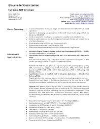 Sample Resume For C Net Developer by English Resume Glaucia Lemos
