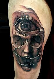 creepy and mystical 3d eye in skull on arm