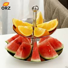 fruit holder orz 2 tier stainless steel ciecle cake plate stand cupcake fruit