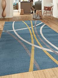 Area Rugs Contemporary Modern Abstract Contemporary Modern Stripes Blue 5 3 X 7 3 Indoor Area