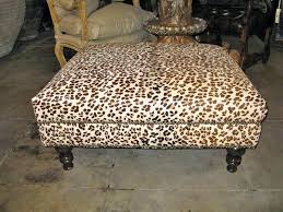 leopard printed upholstered ottoman at 1stdibs