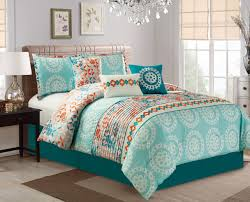 Bedding Set Queen by Piece Medallion Teal Coral Comforter Set