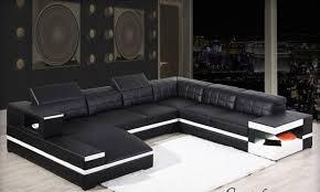 canapé d angle noir et blanc pas cher canapé d angle en cuir félice u lecoindesign