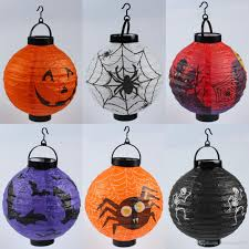 2017 halloween party decoration led paper pumpkin light hanging