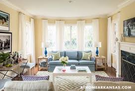 Living Rooms With Blue Couches by Living Room With Blue Sofa And Greek Key Rug