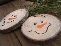 snowman from wooden trunk disks just because or your